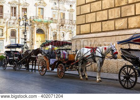 Sicilian Cart In Via Maqueda In The Historic Center Of Palermo