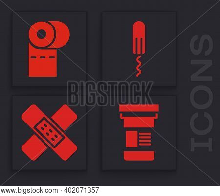 Set Medicine Bottle, Toilet Paper Roll, Sanitary Tampon And Crossed Bandage Plaster Icon. Vector