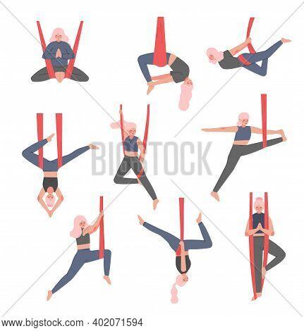 Girl Doing Air Yoga Set, Slim Young Woman In Sportswear Practicing Aero Yoga With Hammock, Healthy L