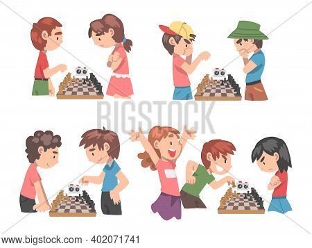 Cute Boys And Girls Playing Chess Game Set, Kids Chess Club, Tournament, Leisure Activity, Logic Gam