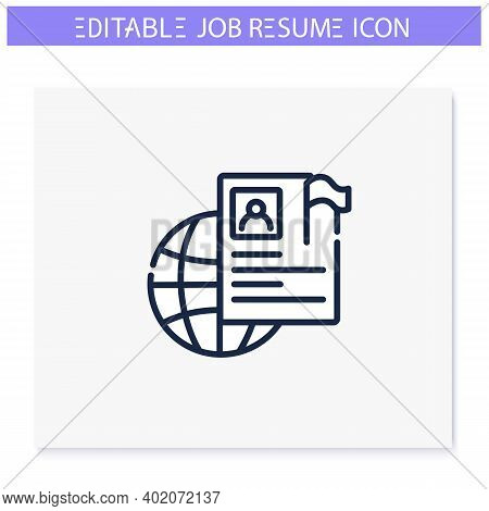 International Resume Line Icon. Abroad Employment. Foreign Country Employee Cv. Global Job Search. J