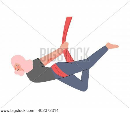 Girl Doing Air Yoga, Slim Young Woman In Sportswear Practicing Aero Yoga And Flying With Hammock, He