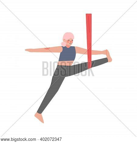 Girl Doing Air Yoga, Slim Young Woman In Sportswear Practicing Aero Yoga Stretching Pose, Healthy Li