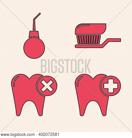 Set Tooth, Enema Pear, Toothbrush With Toothpaste And Tooth With Caries Icon. Vector