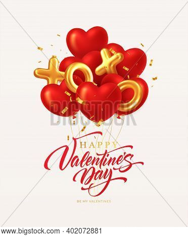Red Glittering Heart Shape Balloons And Xoxo Golden Balloons With Gold Glittering Confetti Inscripti