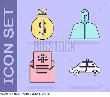 Set Police Car And Flasher, Money Bag, Subpoena And Anonymous With Question Mark Icon. Vector