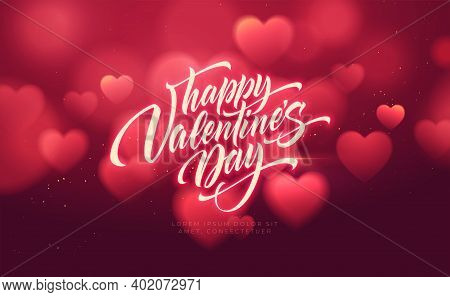 Bokeh Blurred Heart Shape Shiny Luxurious Background For Valentines Day Congratulations. Handwriting