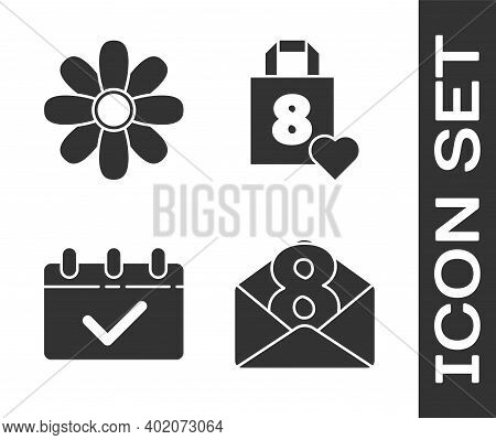 Set Envelope With 8 March, Flower, Calendar With 8 March And Shopping Bag With Heart Icon. Vector