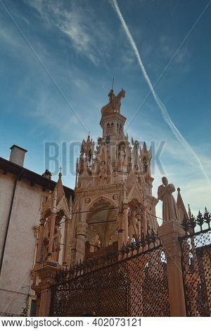 Famous Gothic Funerary Monument Of Scaliger Tombs Arche Scaligere In Verona, Veneto, Italy