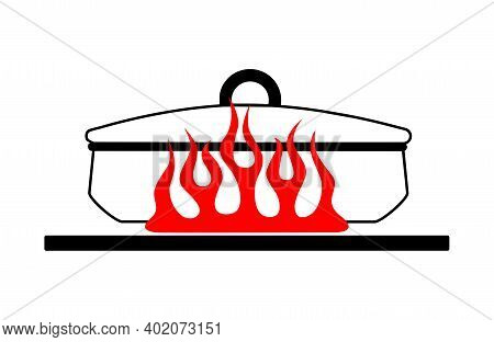 Cartoon Flat Saucepan With A Lid On A Red Gas Stove. Vector Image Of A Kitchen Pot On Fire. Vector I