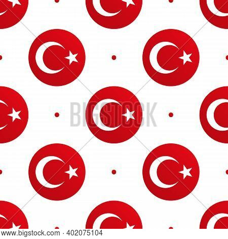 Vector Seamless Pattern Background With Round Shapes Flags Of Turkey And Dots For Turkish Public And