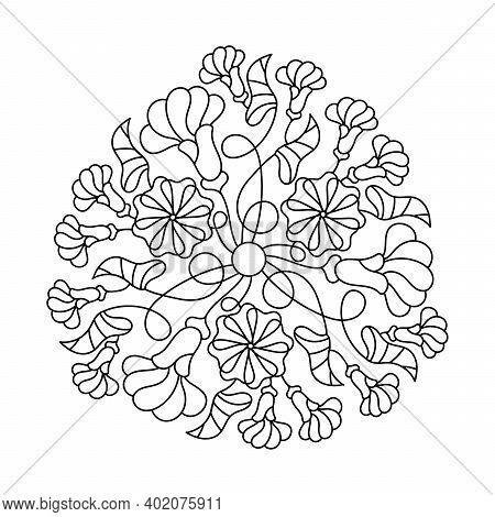 Leaves, Flower Buds, Climbing Plants. Coloring Book. Mandala Hand Drawn Vector Illustration