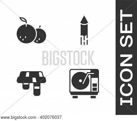 Set Vinyl Player With Vinyl Disk, Tangerine, Winter Scarf And Firework Rocket Icon. Vector