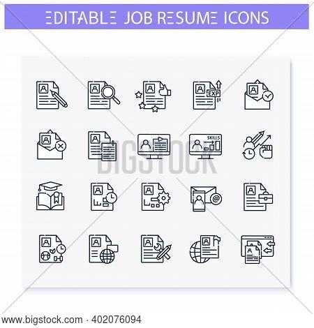 Job Resume Line Icons Set. Cv Letter, Hr Document.skills, Strengths, Languages And More. Career Biog