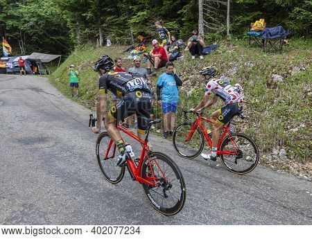 Le Bourget-du-lac, France - July 9, 2017: Two Cyclists, Angelo Tulik And The Polka Dot Jersey, Lilia