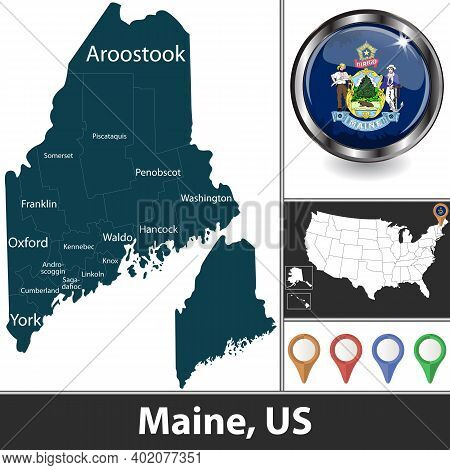 Maine State With Counties And Location On American Map. Vector Image