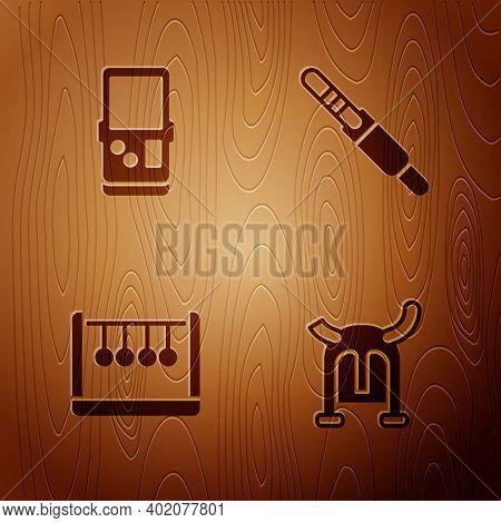 Set Viking In Horned Helmet, Tetris, Pendulum And Audio Jack On Wooden Background. Vector
