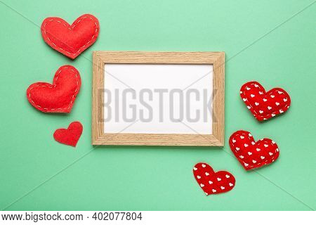 Love Heart Frame On Pastel Background Copy Space Top View, Valentine's Day Concept