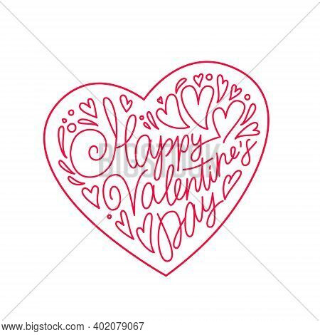 Valentine's Day Card. Lettering. Beautiful Festive Lettering In The Shape Of A Heart. Happy Valentin