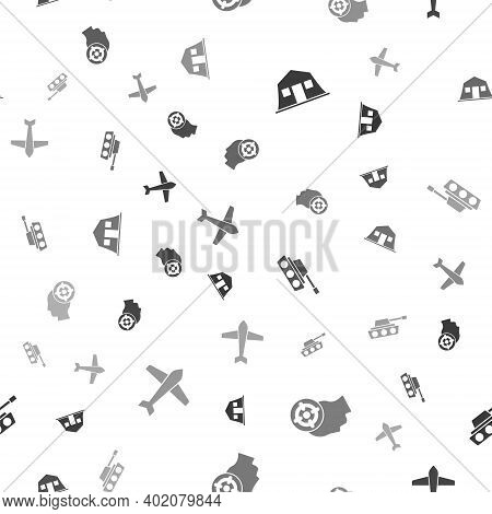 Set Military Barracks, Target Sport, Tank And Jet Fighter On Seamless Pattern. Vector