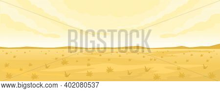 Simple Desert Landscape Background With Mountains And Grass