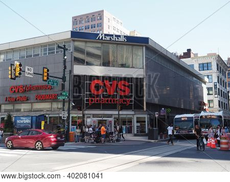 Philadelphia, Usa - June 11, 2019: Image Of The Marshalls Department Store With A Cvs Pharmacy Locat