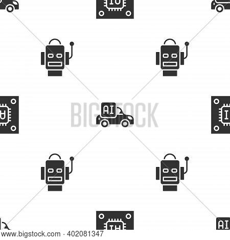 Set Processor With Microcircuits Cpu, Autonomous Smart Car And Robot On Seamless Pattern. Vector