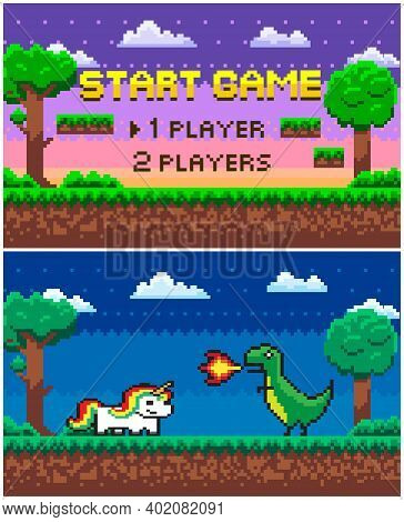 Start Game Question Vector, Arcade Scene With Nature And Pixelated Icons. Dragon With Fire And Unico