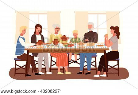 Family At A Russian-style Evening Dinner. Relatives Are Communicating At The Dinner Table. Character