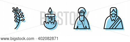 Set Line Jesus Christ, Willow Leaf, Burning Candle And Jesus Christ Icon. Vector