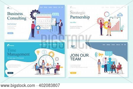 Business Consulting, Strategic Partnership, Time Management, Join Our Team Webpage Template. Busines