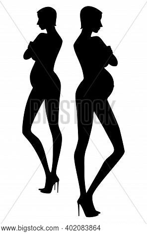 Exquisite Silhouette Of  Pregnant Woman In High Heels Shoes With Her Arms Crossed.