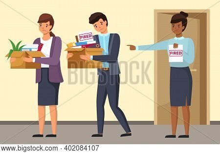 Layoff Concept. Boss Dismissed Employee. Sad Man And Woman Leave The Office With Things In Boxes. Un