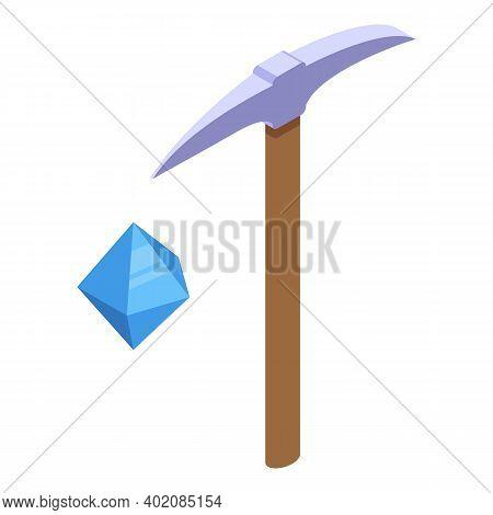 Diamond Extract Effort Icon. Isometric Of Diamond Extract Effort Vector Icon For Web Design Isolated