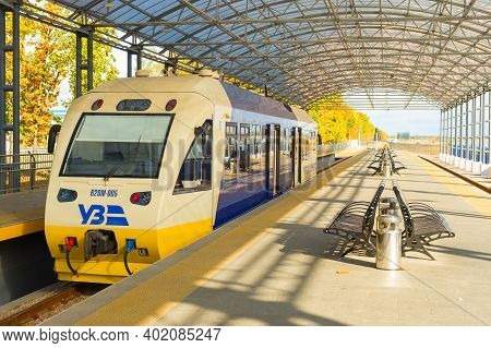 Kyiv, Ukraine - October 07, 2019: Boryspil Express Train - Shuttle Airport Train From Kyiv Central T