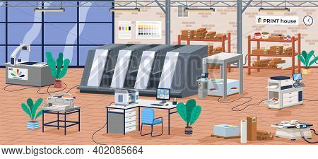 Printing House Facility Offset Production Line Industrial Equipment Isometric Composition Vector Ill