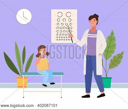 The Optometrist Checks Eyesight Of A Little Girl. The Patient Looks At The Table For A Vision Test.