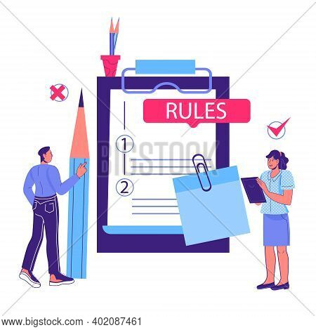 Business Rules And Main Company Policy Concept With Cartoon People Standing Next To Huge Clipboard W