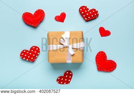 Valentines Day Background. Gift Box, Hearts On Blue Pastel Background. Flat Lay, Top View, Copy Spac