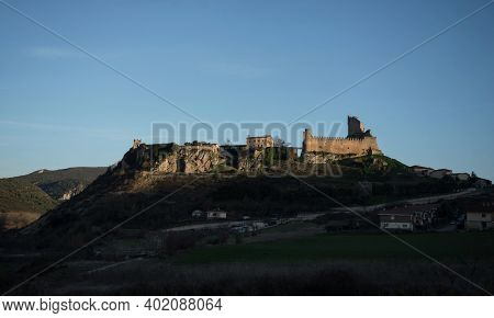 Panoramic View Of Medieval Historical Castle Town Hill Village Frias Las Merindades Burgos Castile A