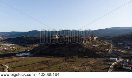 Aerial Panorama Of Medieval Historical Castle Town Hill Village Frias Las Merindades Burgos Castile