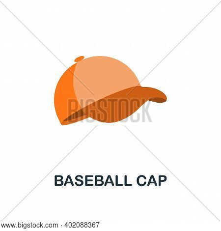 Baseball Cap Flat Icon. Color Simple Element From Clothes Collection. Creative Baseball Cap Icon For
