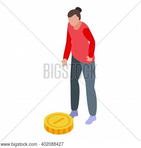 Money Coin Opportunity Icon. Isometric Of Money Coin Opportunity Vector Icon For Web Design Isolated