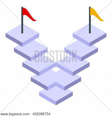 Opportunity Stairs Icon. Isometric Of Opportunity Stairs Vector Icon For Web Design Isolated On Whit