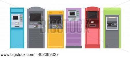 Atm Bank Machine For Payment, Street Terminal Vector Illustration Set. Cartoon Colorful Banking Equi