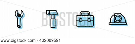 Set Line Toolbox, Adjustable Wrench, Hammer And Worker Safety Helmet Icon. Vector