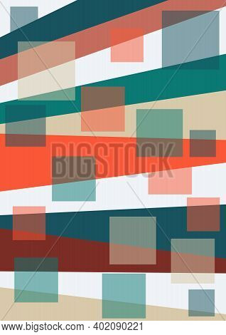 Bedsheet Design With Uneven Strips And Squares In Warm Colors Red, Beige Brown, Supplemented With Gr