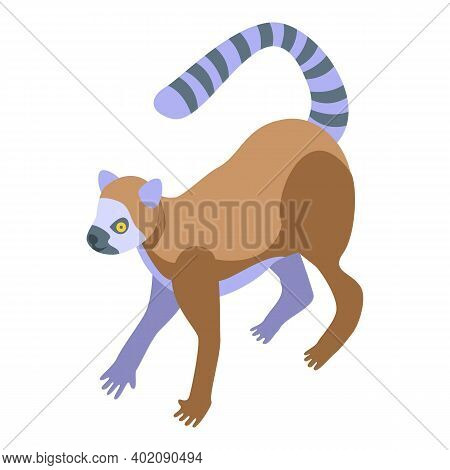 Nature Lemur Icon. Isometric Of Nature Lemur Vector Icon For Web Design Isolated On White Background