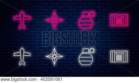 Set Line Japanese Ninja Shuriken, Hand Grenade, Jet Fighter And Dynamite Bomb. Glowing Neon Icon On