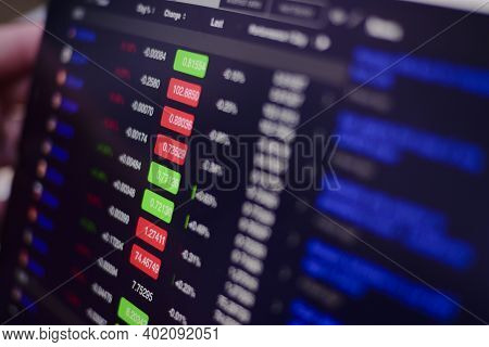 Stock Exchange Monitor Screen Closeup On Tablet With Businessman Finger Analysis While Open Market F